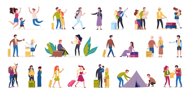 Set di illustrazione di turisti con bagagli e borsetta. viaggio in famiglia, vacanze con gli amici. raccolta di personaggi nel loro viaggio, vacanza in famiglia. concetto di viaggio e turismo