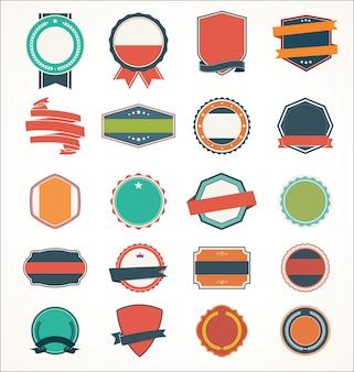 Insieme dell'illustrazione del distintivo e dei nastri dell'autoadesivo dell'etichetta dell'insegna dell'etichetta dell'annata