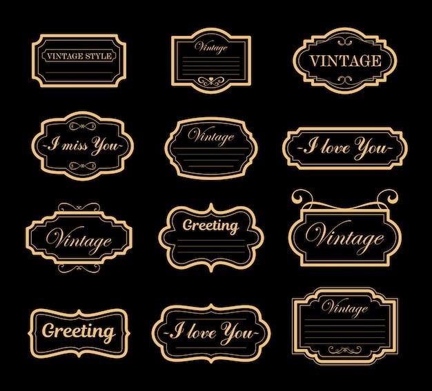 Insieme dell'illustrazione delle decorazioni s degli ornamenti dell'annata. cornici retrò e antichi, etichette, emblemi su sfondo nero.