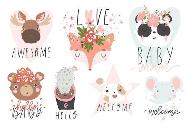 Set di illustrazioni con adorabili animali collezione di biglietti e magliette