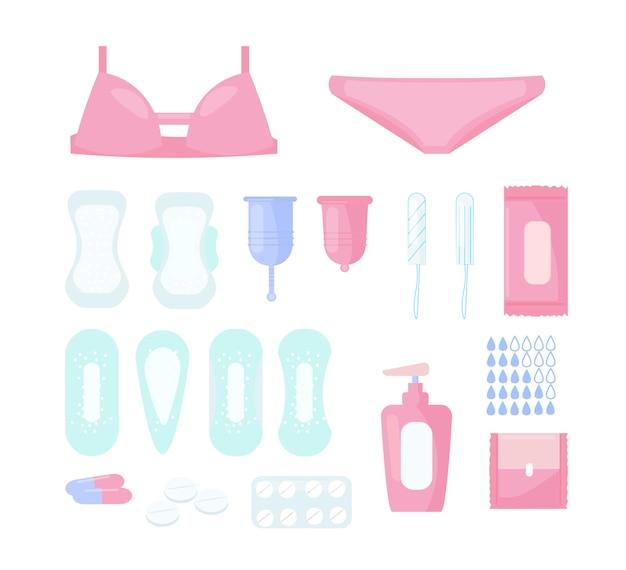 Set di illustrazione di assorbenti igienici femminili e altri prodotti per l'igiene
