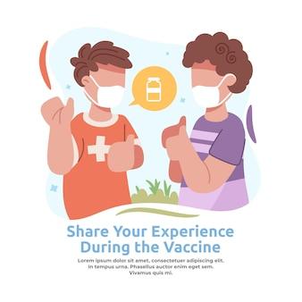 Illustrazione della condivisione dell'esperienza del vaccino con gli amici