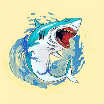 Illustrazione di squalo con spruzzi d'acqua