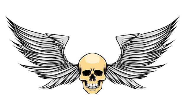 Illustrazione di ali affilate con testa magra di teschio morto