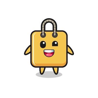 Illustrazione di un personaggio della borsa della spesa con pose imbarazzanti, design in stile carino per maglietta, adesivo, elemento logo