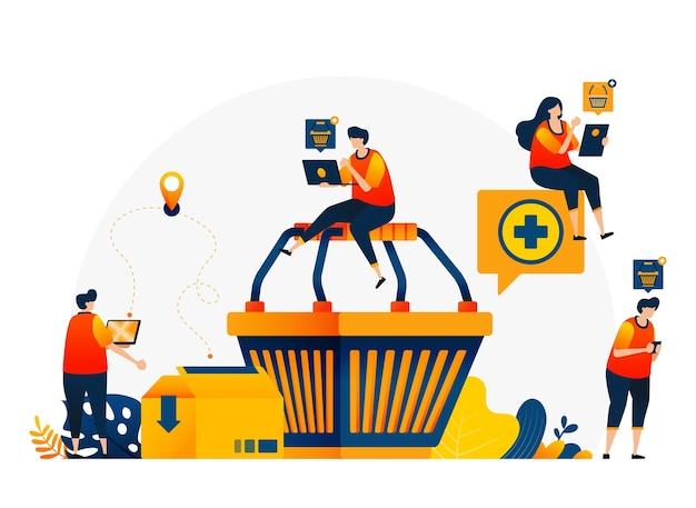 Illustrazione del carrello con le persone intorno che vogliono fare acquisti. e-commerce con servizi di consegna e cartone.