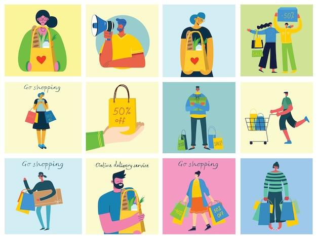 Illustrazione concetto di acquisto nel design piatto