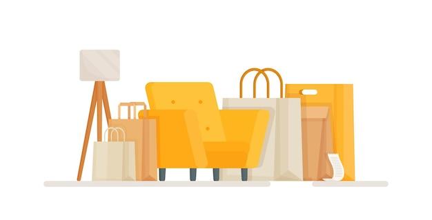 Illustrazione di un ambiente di una sala acquisti per ordini online e acquisti online una sedia piena di pacchi e pacchi dalla consegna