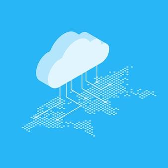 Illustrazione che mostra il concetto di cloud computing