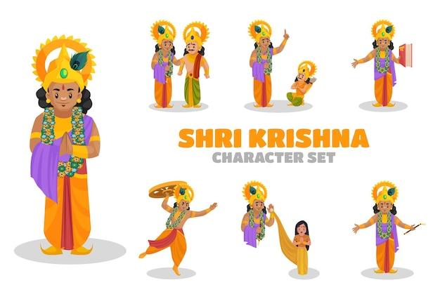 Illustrazione di shri krishna character set