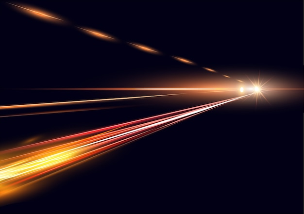 Simulazione dell'illustrazione di esposizione lunga di traffico notturno. luci ad alta velocità su sfondo nero.