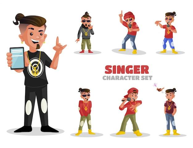 Illustrazione del set di caratteri cantante Vettore Premium