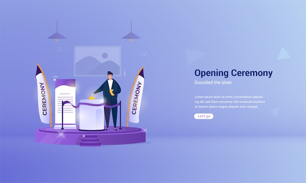 L'illustrazione delle sirene ha suonato per il concetto della cerimonia di apertura