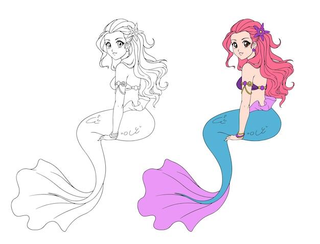 Illustrazione di una ragazza sirena seduta. illustrazione di anime di vettore disegnato a mano.