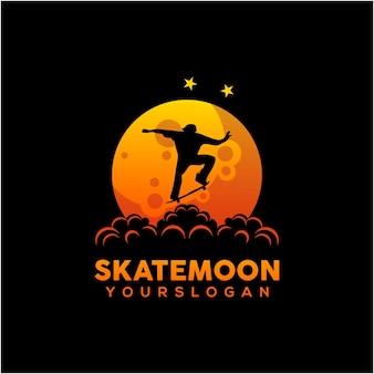 Illustrazione del pattinatore sullo stile sfumato della luna