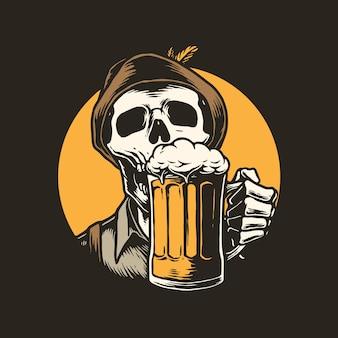 Illustrazione di scheletro che beve birra