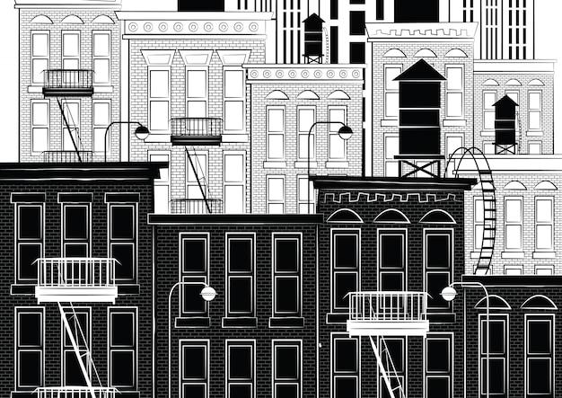 illustrazione di paesaggio urbano di new york punti di