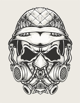 Illustrazione cranio testa dell'esercito