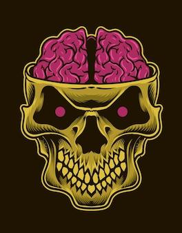 Illustrazione del cervello del teschio su sfondo posteriore
