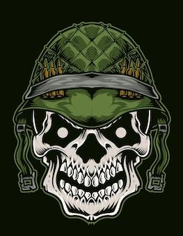 Illustrazione cranio testa esercito Vettore Premium