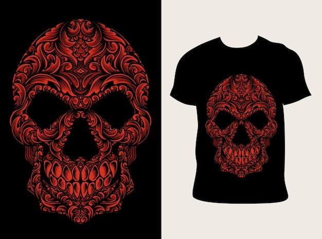 Illustrazione stile ornamento testa di teschio con design t-shirt