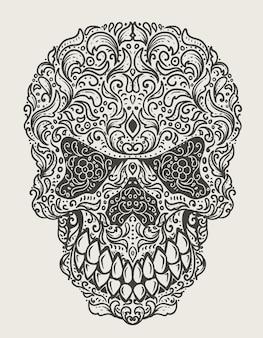 Testa del cranio di illustrazione con stile ornamento floreale