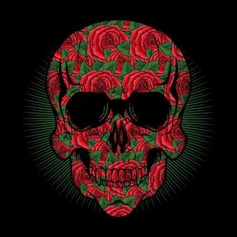 Illustrazione della testa del teschio con rose rosse texture vettoriale dettagliato design