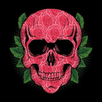 Illustrazione della testa di teschio con disegno vettoriale dettagliato di rose texture