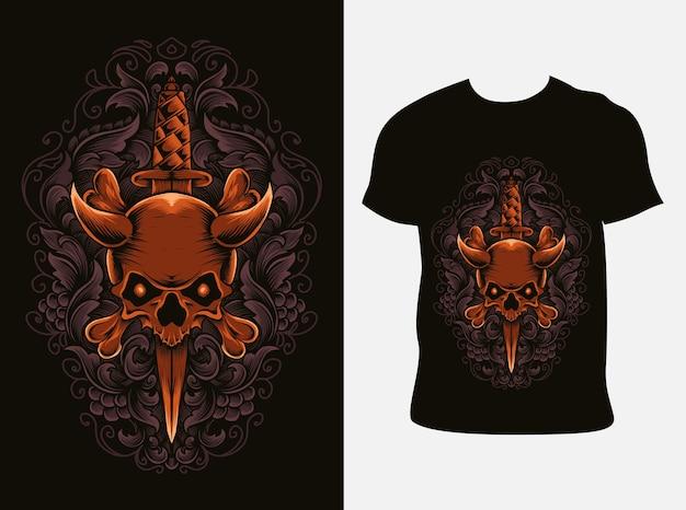 Illustrazione ornamento coltello cranio con design t-shirt