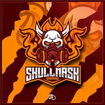 Illustrazione skull mask gaming