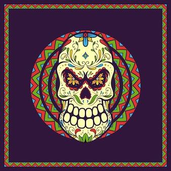 Illustrazione teschio messicano giorno dei morti, dia de los muertos