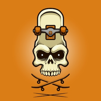 Illustrazione cranio skateboard con stile cartoon