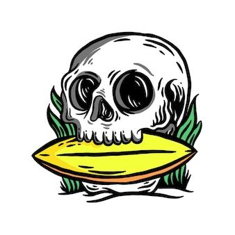 Illustrazione del cranio e della tavola da surf