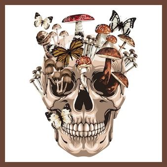 Illustrazione di un teschio con diversi funghi.
