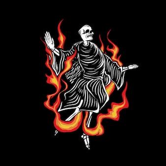Illustrazione del teschio con il fuoco infernale