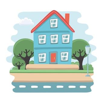 Illustrazione della piccola casa blu