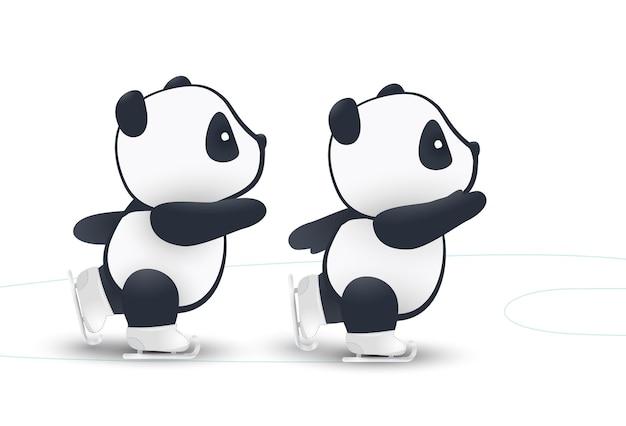 Illustrazione, piccolo divertente panda pattinaggio su ghiaccio isolato sfondo bianco impostato