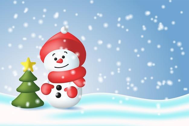 Illustrazione di un pupazzo di neve e di un albero di natale su uno sfondo innevato