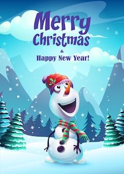 Illustrazione biglietto di auguri pupazzo di neve buon natale