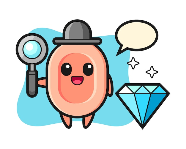 Illustrazione del personaggio di sapone con un diamante, stile carino per t-shirt, adesivo, elemento logo