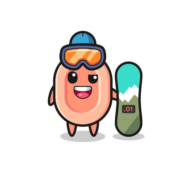 Illustrazione del personaggio di sapone con stile snowboard, design in stile carino per maglietta, adesivo, elemento logo