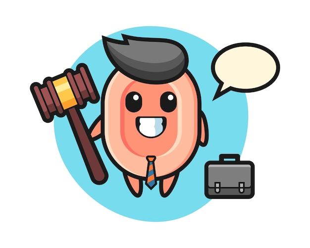 Illustrazione della mascotte del sapone come avvocato, stile carino per maglietta, adesivo, elemento logo