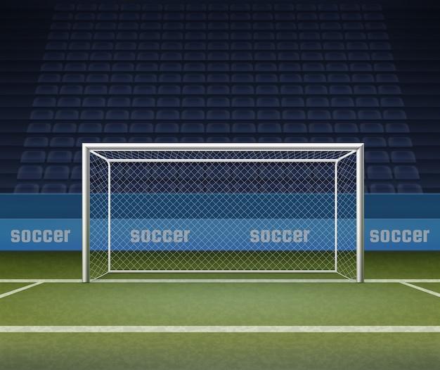 Illustrazione del palo della porta di calcio sul campo, cancelli di calcio sullo sfondo dello stadio