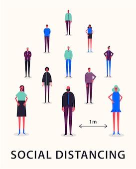Illustrazione - distanziamento sociale. mantenendo la distanza di 1 metro per proteggersi dal virus corona covid-19