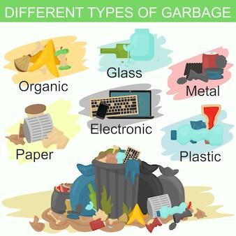 Illustrazione di smistamento diversi tipi di spazzatura. mucchio di spazzatura profumata in giro.