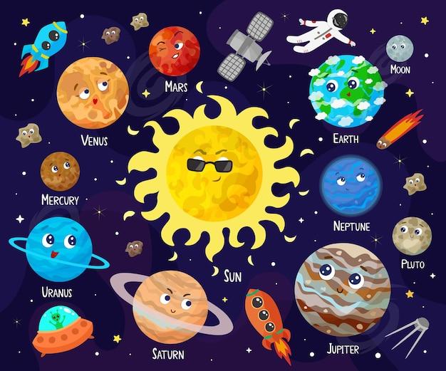 Illustrazione dello spazio, universo. pianeti simpatici cartoni animati, asteroidi, comete, razzi.