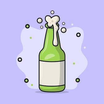 Illustrazione di una bottiglia di birra frizzante