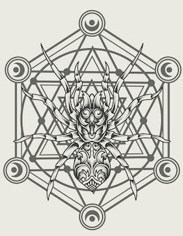 Illustrazione ragno ornamento sulla geometria sacra