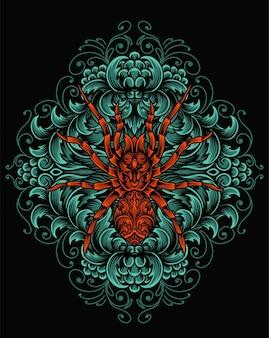 Illustrazione ragno con incisione ornamento