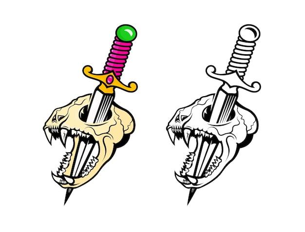 Illustrazione del cranio di un gatto spettrale con una spada. stampa moderna per t-shirt in bianco e nero ea colori.
